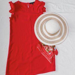 Fuschia Shift Dress with Flutter Sleeve